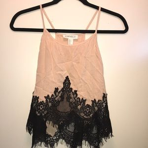 Forever 21 Peach & Black Lace Tank